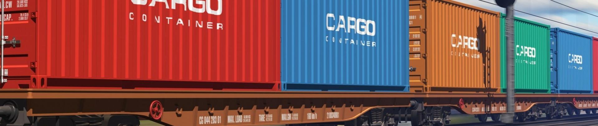 Goederentrein Wagons met de tekst cargo